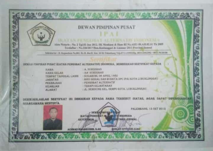 sertifikat pengobatan kejantanan alat vital ciledug